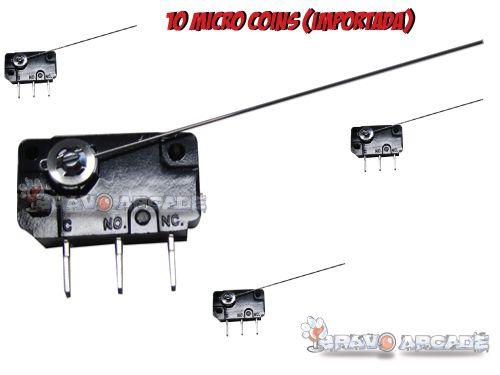 10 Micro Switch De Coin (agulha) Para Ficheiros Bartop