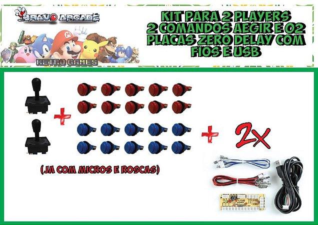 Kit Arcade Duplo Comandos 20 Botões E 2 Placa Zero Delay Pi3