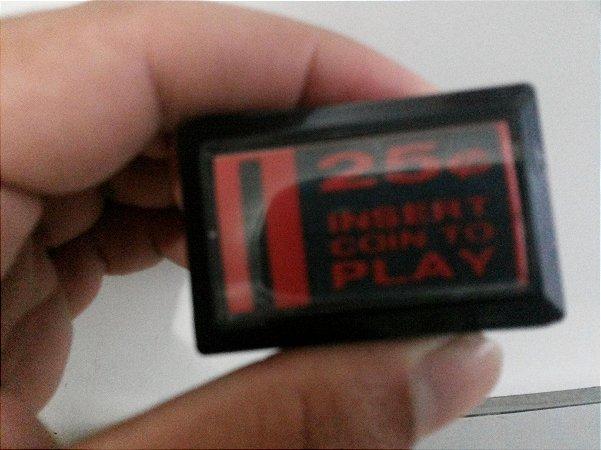 Botão Insert Coin Retangular Fliperama 25 Cent Com Led
