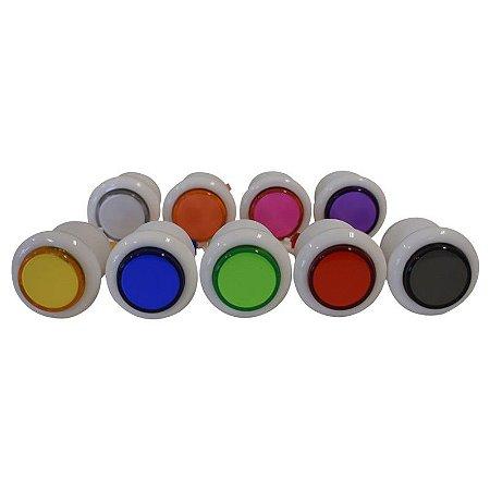 Botões de acrílico - aba branca - cores sortidas