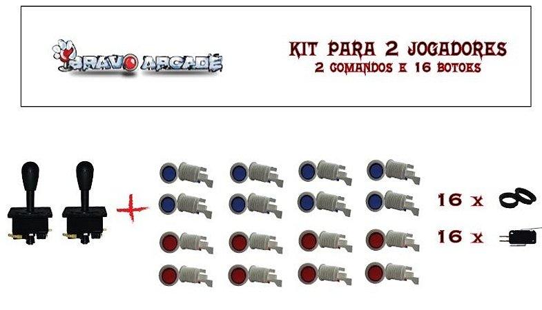 Kit Botões de Acrílico para 2 jogadores