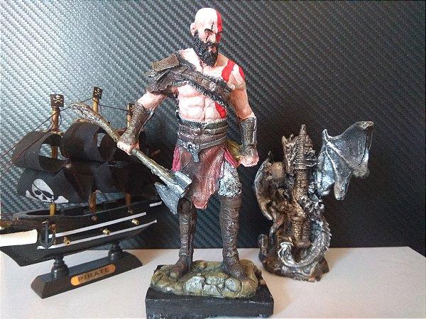 Boneco Resina Kratos God Of War - Action Figure 18cm