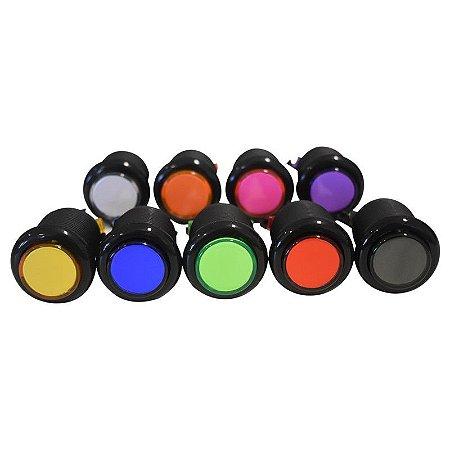 Botões de acrílico - aba preta - cores sortidas
