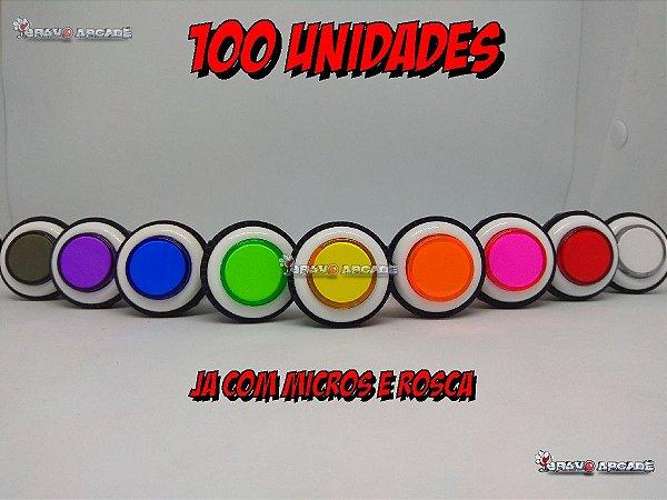 Kit com 100 botões com micros fliperama acrilico aba branca