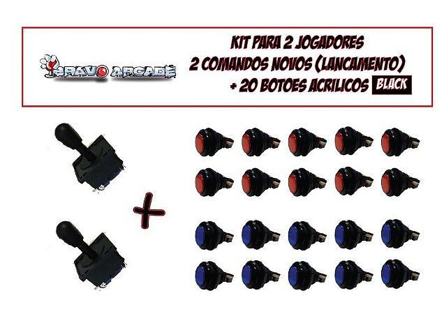Kit Arcade Botões De Acrilico Aba Preta -02 Players Aegir