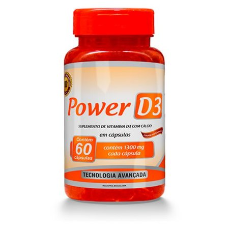 Power D3 - Suplemento de Vitamina D3 com Cálcio - 60 Cápsulas Gelatinosas
