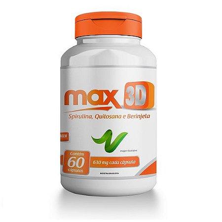 Max 3D - Spirulina, Quitosana e Berinjela - 60 Cápsulas