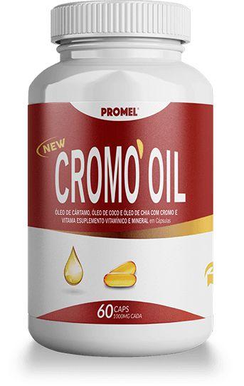 Cromo Oil - Óleo de Cartamo, Óleo de Coco e Óleo de Chia com Cromo e Vitamina E - 60 Cápsulas