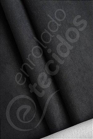 Tecido Suede Veludo Liso Preto 1,45m de Largura