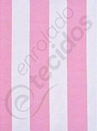 Tecido Gorgurinho Listrado Rosa Bebê e Branco 1,50m de Largura