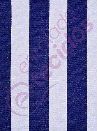 Tecido Gorgurinho Listrado Azul Royal e Branco 1,50m de Largura