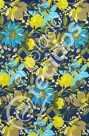 Tecido D'Acqua Impermeável Floral Azul Marinho 1,40m de Largura