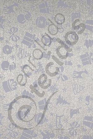 Tecido Jacquard Fio Tinto Natalino Prata e Branco 2,80m de Largura