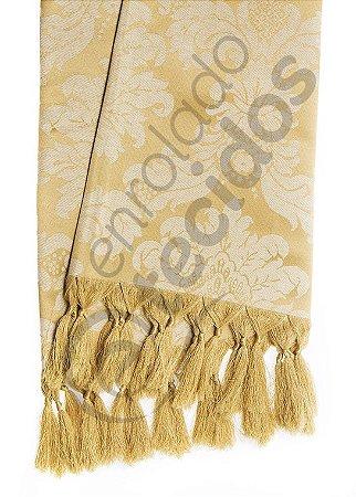 Manta para Sofá em Tecido Jacquard Dourado 1,80m X 1,40m