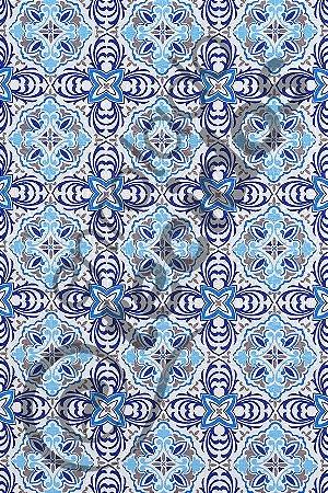 Tecido Jacquard Estampado Azulejo Português Azul 1,40m de Largura
