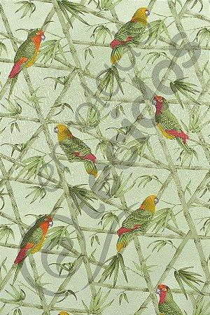 Tecido Jacquard Estampado Papagaio 1,40m de Largura