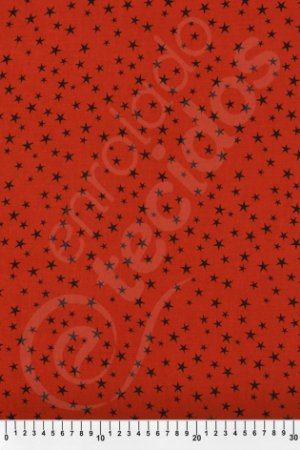 Tecido Viscose Estampado Estrela Vermelho e Preto 1,40m de Largura