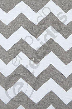 Tecido Gorgurinho Chevron Cinza e Branco 1,50m de Largura