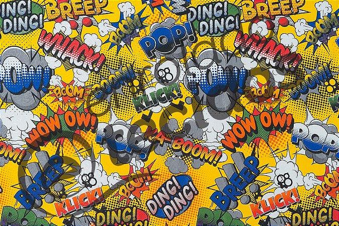 Tecido Jacquard Estampado Onomatopéia Super Heróis Amarelo POW WOW BOOM 2,80m de Largura