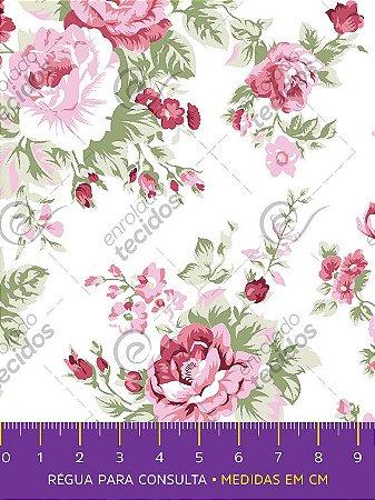 Tecido Tricoline Estampado Floral Rosa Fundo Off-White 1,50m de Largura