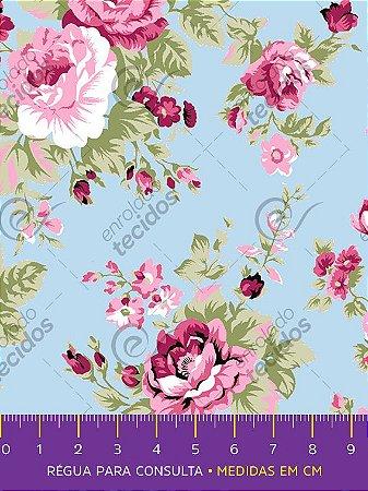 Tecido Tricoline Estampado Floral Rosa Fundo Azul 1,50m de Largura