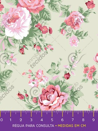 Tecido Tricoline Estampado Floral Rosa Fundo Bege 1,50m de Largura