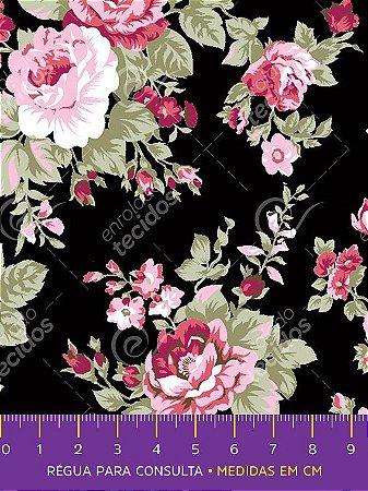 Tecido Tricoline Estampado Floral Rosa Fundo Preto 1,50m de Largura