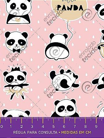 Tecido Tricoline Estampado Ursinho Panda Rosa Bebê 1,50m de Largura
