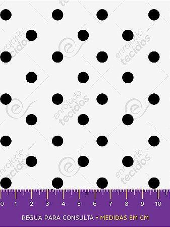 Tecido Tricoline Estampado Poá Branco e Preto 1,50m de Largura
