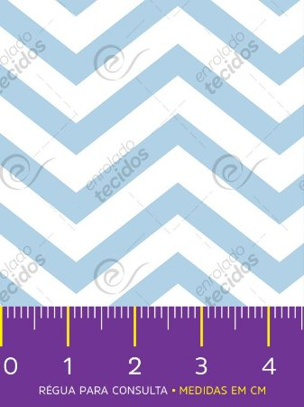 Tecido Tricoline Estampado Chevron Azul Bebê e Branco 1,50m de Largura