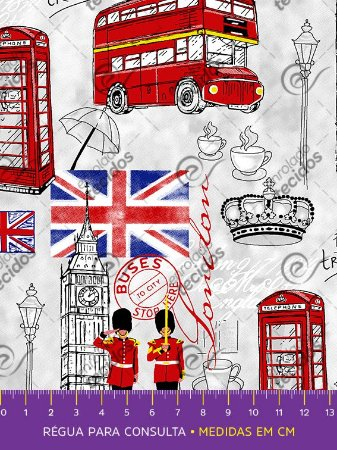 Tecido Tricoline Estampado Londres Inglaterra 1,50m de Largura