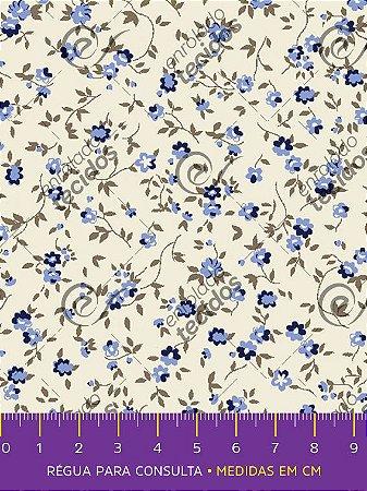 Tecido Tricoline Estampado Floral Azul Fundo Pérola 1,50m de Largura