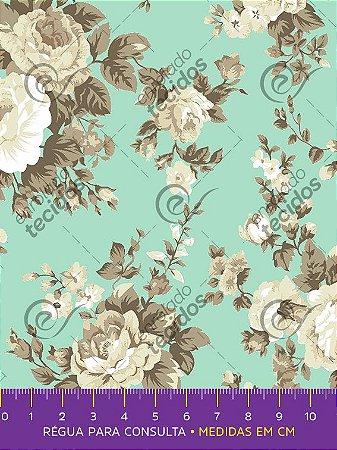 Tecido Tricoline Estampado Floral Bege Fundo Azul Turquesa 1,50m de Largura