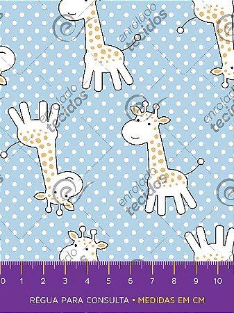 Tecido Tricoline Estampado Girafinha Azul Bebê 1,50m de Largura