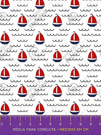 Tecido Tricoline Estampado Barquinhos Marinheiro 1,50m de Largura
