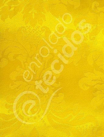 Tecido Jacquard Amarelo Ouro Medalhão ou Listrado 2,80m de Largura