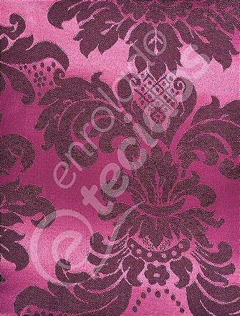 Tecido Jacquard Pink e Preto Medalhão ou Listrado 2,80m de Largura