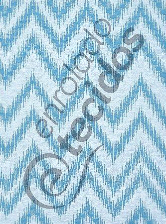 9c0e755a9d8a5 Tecido Jacquard Fio Tinto Chevron Azul Turquesa e Branco - Loja de ...