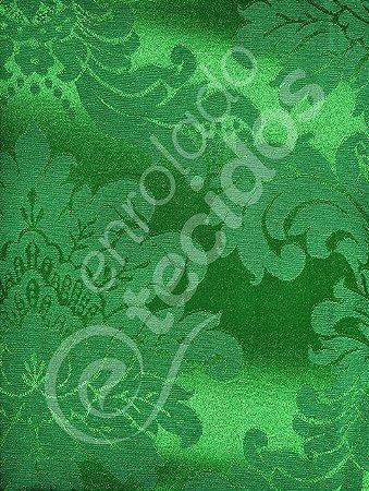 Tecido Jacquard Verde Medalhão ou Listrado 2,80m de Largura