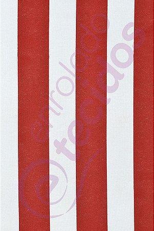 Tecido Gorgurinho Listrado Vermelho e Branco (Circo) 1,50m de Largura