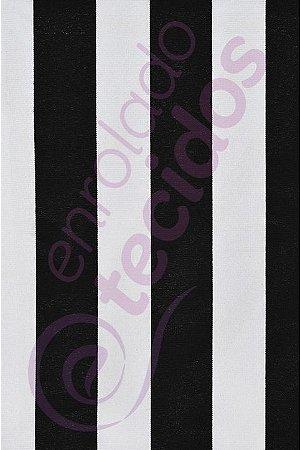 Tecido Gorgurinho Listrado Preto e Branco 1,50m de Largura