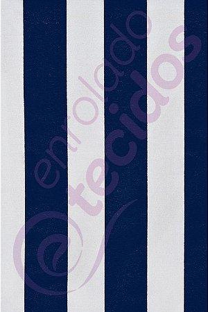 Tecido Gorgurinho Listrado Azul Marinho e Branco 1,50m de Largura