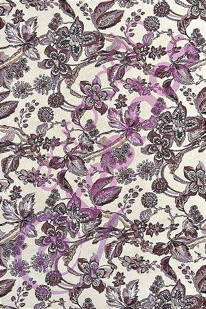 Tecido Jacquard Estampado Floral Bege e Marrom 1,40m de Largura