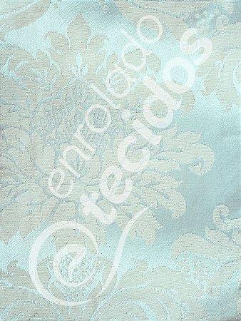 Tecido Jacquard Bege e Prata Azulado Medalhão ou Listrado 2,80m de Largura