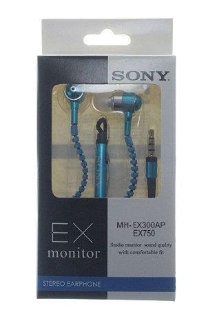 Fone de Ouvido Para Celular Entrada P2 com Microfone Marca Sony Metalizado Ziper Cores Variadas