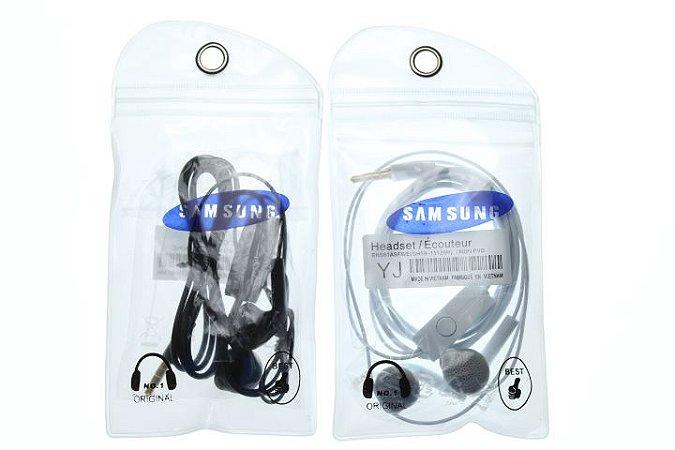 Fone de Ouvido para Celular Marca Samsung Entrada P2 Cor Branca ou Preta no Saquinho