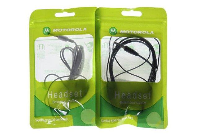 Fone de Ouvido para Celular Motorola Entrada P2 cor Branca ou Preta no Saquinho