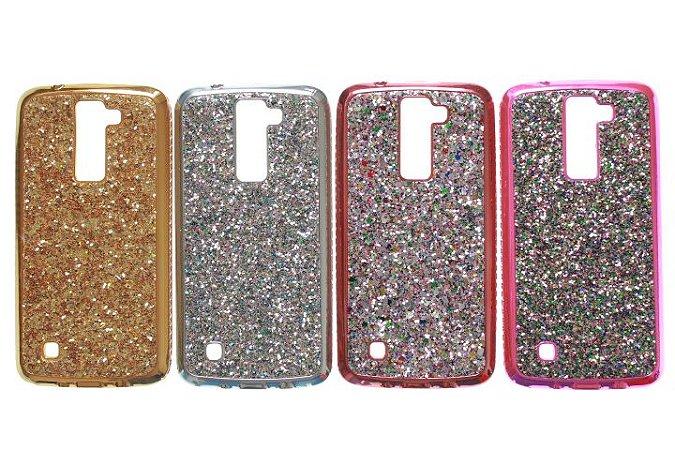 Capas para Celutlar K7-K8 Silicone Luxo Strass e Glitter Cores Sortidas