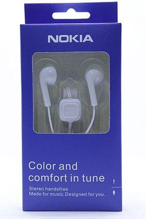 Fone de Ouvido Marca Nokia Entrada P2 com Microfone cor branca ou preta na caixa