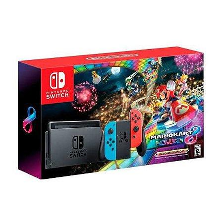 Console New Nintendo Switch 32GB Neon Bundle Mario Kart 8 Novo